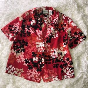 Red Hawaiian Button Up Top